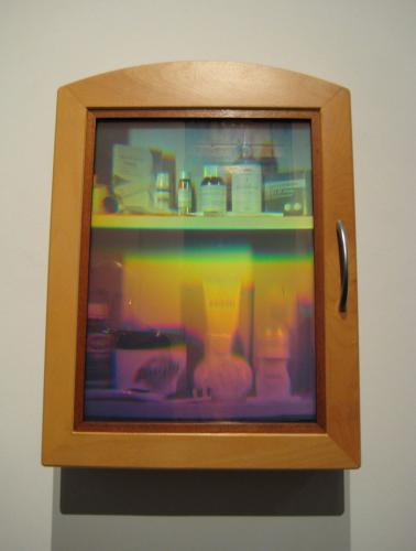 'The Good Medicine Cabinet'  30x40cm transmission hologram and mixed media - technical support Sam Moree, 2007