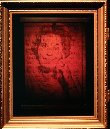 1991Herstory Detail of 3 8x10 inch reflection holograms with acetate overlay
