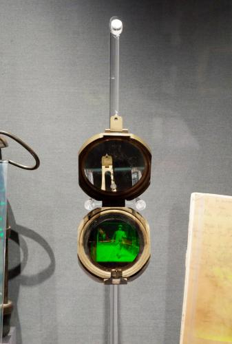 "My Great-Great Grandfather's Compass, 4"" x 8"", mixed media, reflection hologram and compass, P. John, 2015"