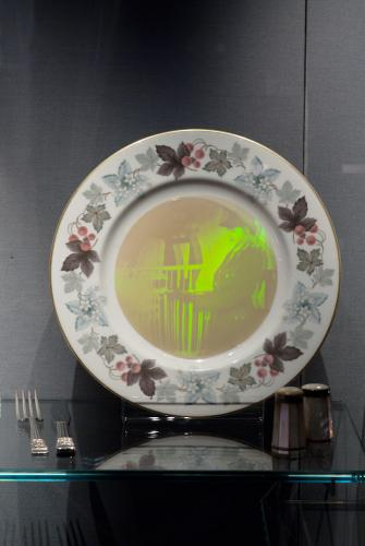 "My Mother's Plate. 10"" x 10"", mixed media, reflection hologram and plate, P. John, 2015"