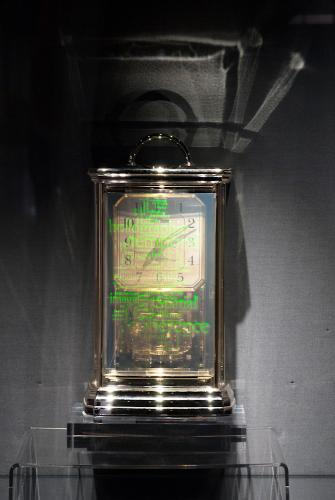 "My Time, 5"" x 8"", mixed media, reflection hologram and working clock, P. John, 2015"